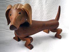 Vintage Kay Bojesen Wooden Dachshund with by BlueOnionCurios, $395.00