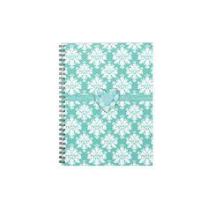 KRW Blue Jeweled Heart Damask Lined Notebook