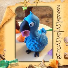 Blu from Rio Sugar Figurine Rio Cake, Rio Party, Cupcake Cakes, Cupcakes, Rio 2, Character Cakes, Dinosaur Stuffed Animal, Parties, Party Ideas