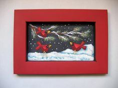 Red Cardinals, Tole Painted, Framed in Red, Tole Painted. $18.00, via Etsy.