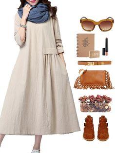 Gracila Vintage Women Loose Long Sleeve Pleated Pure Color Long Maxi Dress