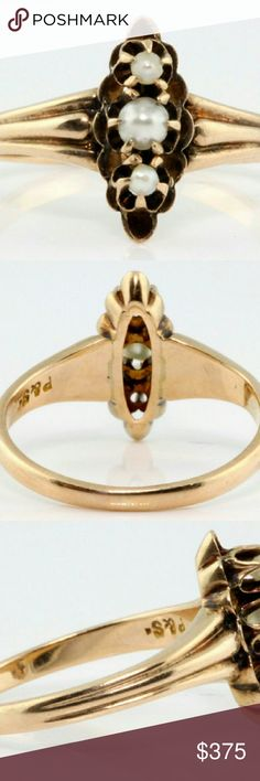 Victorian 10k rose gold freshwater pearl ring Size 4 1/2. Tested 10k gold. Jewelry Rings