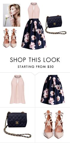 """""""Untitled #62"""" by jovana-p-com ❤ liked on Polyvore featuring Vera Mont, Chicwish, Chanel and Valentino"""