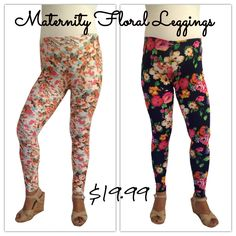 Be a stylish mom-to-be this summer. Maternity floral leggings on sale now at Heritwine Maternity for just $19.99. www.heritwinematernity.com #maternity #sale