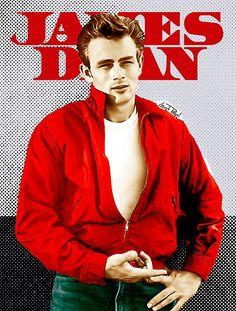 """James Dean e sua icônica jaqueta vermelha de """"Juventude Transviada""""."""