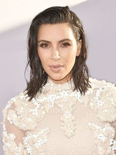 This Is How to Get the Wet-Look Hairstyle à la Kim and Bella via @ByrdieBeauty