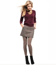 afebeff14f60 Short gray skirt. Gray tights. Black boots. Is it fall