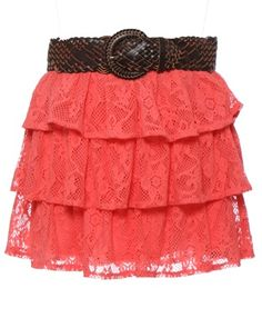 Coral country girl skirt with attached woven belt