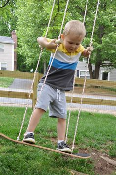 "DIY Skateboard Swing by littlebitfunky: 20 minutes with an upcycled skateboard, rope, a wooden dowel and a carabiner! ""Big"" kids would love this too!"