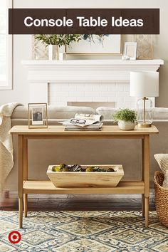 A console table that complements the couch can transform your living room space. Find decor ideas & inspiration for a modern update. Console Table Living Room, Living Room Furniture, Console Tables, Modern Vintage Bathroom, Living Area, Decorative Pillows, Entryway Tables, Sweet Home, New Homes