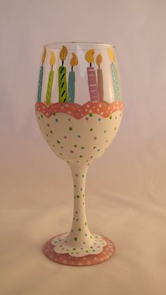 Birthday Cake hand painted wine glass by TheSparkleFairies on Etsy Wine Glass Crafts, Wine Craft, Wine Bottle Crafts, Decorated Wine Glasses, Hand Painted Wine Glasses, Bottle Painting, Diy Painting, Wine Bottle Glasses, Wine Bottles