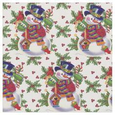 Christmas snowman pima cotton fabric