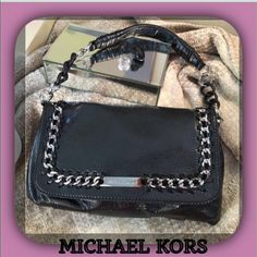 Michael Kors Black Metallic Patent Leather Handbag