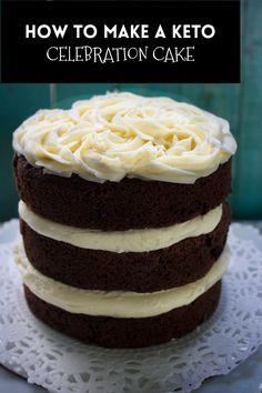 Keto Chocolate Birthday Cake - Spinach Tiger Sugar Free Desserts, Low Carb Desserts, Dessert Recipes, Gluten Free Recipes, Low Carb Recipes, Gluten Free Biscuits, Keto Chocolate Cake, Recipe Boards, Vanilla Buttercream