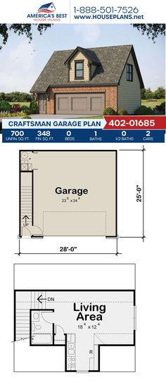 Plan 402-01685 features a Craftsman style garage with 700 sq. ft. of garage space, 348 sq. ft. of living space, and 1 bathroom. #garageplans #garage #architecture #houseplans #housedesign #homedesign #homedesigns #architecturalplans #newconstruction #floorplans #dreamhome #dreamhouseplans #abhouseplans #besthouseplans #newhome #newhouse #homesweethome #buildingahome #buildahome #residentialplans #residentialhome