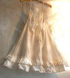 ❥ HOT SUMMER Beautiful Cotton Dress White-Cream Gothic Boho Country Hippi Vintage Lace