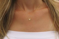 """Goldfilled Initial Necklace Gold Letter Necklace by HLcollection with a """"C""""! Love cute dainty necklaces."""