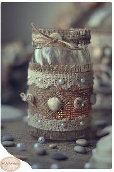 Best Ideas for Better Living Mason Jar Gifts, Mason Jar Candles, Mason Jar Diy, Diy Bottle, Bottle Art, Bottle Crafts, Jam Jar Crafts, Decorated Jars, Seashell Crafts