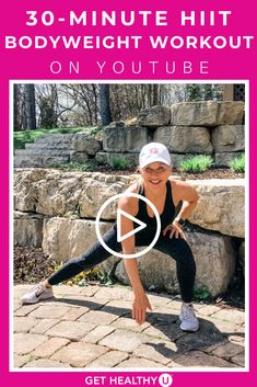 Get a full body workout with this at home Bodyweight HIIT Workout with NO EQUIPMENT! This 30 minute at home bodyweight workout is your typical Tabata HIIT s. Body Weight Hiit Workout, Full Body Workout At Home, At Home Workouts, Muscle Building Workouts, 30 Minute Workout, 10 Seconds, Tabata, Burn Calories, Workout Videos