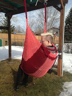 Here is another EASY pattern for your yard this summer. The crochet hammock chair uses supplies that are readily available, simple construction techniques, and making it with ANY worsted weight yarn really works. Although I have listed a gauge, it is very forgiving and does not need to be held to.If you have 400 to 600 grams of yarn kicking around in your stash, that will do for this project. The best thing about acrylic worsted yarn is it's durability. I leave my hammocks hanging outside…