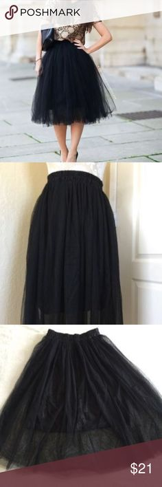 """Black Ballet Tule Tutu Black Ballet Tule Too-Too. 28"""" in length, stretches up to 44"""" at the waist. 24"""" Un-stretched. Skirts A-Line or Full"""