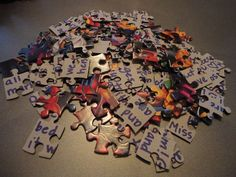 Pen Pal Puzzle Letter This is a great idea Put the puzzle togetherwrite the messagetake it apartmail in sturdy envelope Small inexpensive Christmas scene puzzles would ma. Crafts For Kids, Arts And Crafts, Paper Crafts, Escape Room Diy, Escape Box, Snail Mail Pen Pals, Snail Mail Gifts, Pen Pal Letters, Pocket Letters