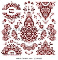 Hand-drawn mehendi ornamental pattern design set. Indian henna tattoo collection for hands. Oriental style decorative templates. Isolated on white. EPS 10 vector illustration.