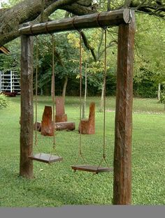 Parque infantil uploaded by on We Heart It – natural playground ideas Backyard Swing Sets, Backyard For Kids, Backyard Projects, Outdoor Projects, Garden Projects, Natural Playground, Backyard Playground, Kids Play Area, Play Areas