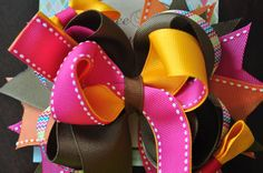 Girly Fall Boutique Bow by threepeasboutique on Etsy, $7.50