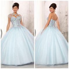 Pretty Sequins Bodice With Colored Beadings Ruffle Tulle Ball Gowns Light Sky Blue Special Occassion Quinceanera Dresses ED-177