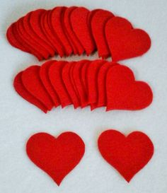 Red felt die cut hearts 50 Felt hearts Valentine's by BYNIADESIGN