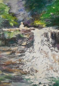 Original acuarela St Mary Falls bosque nacional de por sallisonart