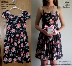 Girl's party dress from the 1990s found at Goodwill altered to become a ladies' sundress.