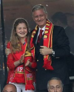 Royal Family Around the World: King Philippe of Belgium and his daughter Crown Princess Elisabeth, Duchess of Brabant attend the Euro 2016 quarter-final football match between Wales and Belgium at the Pierre-Mauroy stadium in Villeneuve-d'Ascq near Lille, on July 1, 2016.