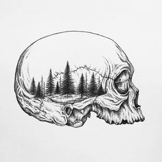 Skull/forest Art Print by Linn Setane - X-Small Skull Tattoos, Body Art Tattoos, Tattoo Drawings, Art Drawings, Framed Art Prints, Canvas Prints, Forest Art, Ink Illustrations, Skull Illustration