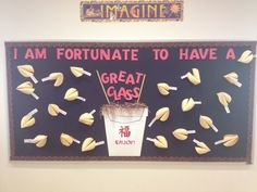 """Pinner: My welcome back bulletin board. Each cookie has a """"fortune"""" that has a student's name written on it. Back To School Bulletin Boards, Classroom Bulletin Boards, Classroom Posters, Classroom Displays, Kindergarten Classroom, Classroom Themes, Classroom Organization, Classroom Decor, Asian Party Themes"""