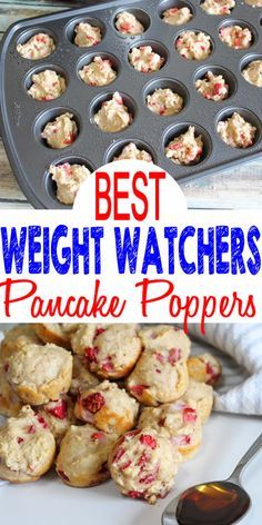 Tasty Weight Watchers Strawberry Pancake Bites you CAN NOT stop eating! This Weight Watchers recipe is easy to make and super yummy. Weight Watchers diet pancake muffins that are heavenly, moist and delicious. Weight Watcher Desserts, Weight Watchers Snacks, Petit Déjeuner Weight Watcher, Pancakes Weight Watchers, Plats Weight Watchers, Weight Watchers Breakfast, Healthy Breakfast Recipes For Weight Loss, Simple Breakfast Recipes, Weight Watcher Overnight Oats