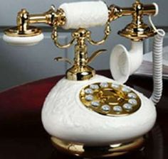 Nostalgic Porcelain Corded/Wired Phone Old Fashioned/Antique - White & Flowers