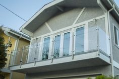 Doug - CA - Modern Stainless Steel Cable and Glass Railing - Inline Design Interior Railings, Interior And Exterior, Glass Railing System, Glass Balustrade, Stainless Steel Cable, Inline, Round Glass, Gallery, Outdoor Decor