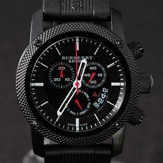 4bd12617d20 Original Burberry Sport Athlete Style Mens Chrono Black Watch BU7701