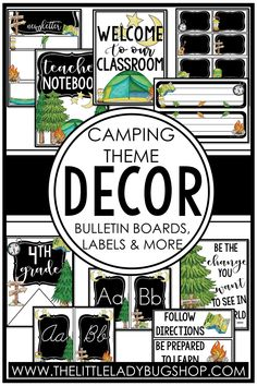 Get ready for back to school with the Camping decor theme! This editable set is fun, unique, and has everything you need to decorate your classroom with a cohesive look. The perfect DIY bundle for any elementary classroom, including posters, name plates, alphabet posters, teacher notebook, organization labels, bulletin board decor, and more! #thelittleladybugshop