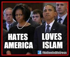 DISGRACEFUL! Look at her hateful expression & his smug expression! Horrible that they are in our White House!