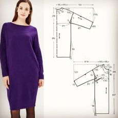 - Выкройка трикотажного платья свободного си… Pattern of a knitted dress of a free silhouette 48 size # patterns silhouette - Easy Sewing Patterns, Clothing Patterns, Shirt Hacks, Madeleine Fashion, Cocoon Dress, Little White Dresses, Clothing Hacks, Men Style Tips, Sewing Clothes