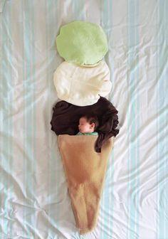 Foto infantil com cenário em tecido - sorvete