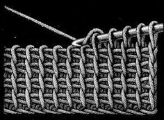 FIG. 444. PLAIN TUNISIAN CROCHET.