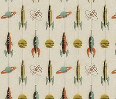 Retro rockets fabric by mumbojumbo on Spoonflower - custom fabric - I desperately want yardage of this! So VERY retro!