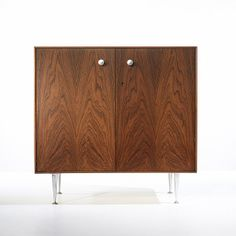 George Nelson & Associates; #5201Rosewood and Aluminum 'Thin Edge' Cabinet for Herman Miller, 1955