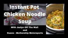 Instant Pot Chicken Noodle Soup Youtube Live, Chicken Noodle Soup, Instant Pot, Noodles, The Creator, Recipes, Macaroni, Ripped Recipes