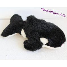 Peluche sonore orque MARINELAND noir et blanc poils brillants 27 cm