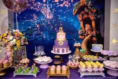 Dessert Table From A Floating Lanterns Gleam Tangled Birthday Party On Karas Ideas